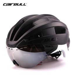 Wholesale Road Helmets - CAIRBULL Triathlon Cycling Helmet Women Men With Sun Visor Ultralight In-mold Road Bike Bicycle Helmet Casco Ciclismo 54-62 CM