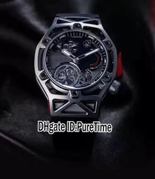 Wholesale Mens Crown Watch - Best Version Techframe LaFerrari P485 Design All Black Automatic Tourbillon Mens Watch 70th Years Limited Edition Rubber Strap Red Crown 29d