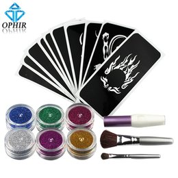 Wholesale Shimmer Temporary Tattoos - Wholesale- OPHIR 6 Colors Powder Temporary Shimmer Glitter Tattoo Kit for Body Art Design Paint with Stencil Glue and Brushes _TA054