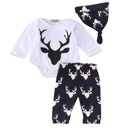Wholesale Owl Romper - INS Baby Long sleeved Xmas white deer 3pc set boys girls christmas romper tops & owl floarl pants & hat best for 0-2years free ship