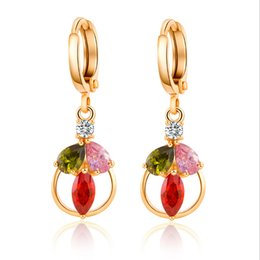 Wholesale White Gold Loop Earrings - Fashion Womens Jewelry 18K Yellow Gold Plated AAA+ Multicolor White Cubic Zirconia CZ Leaf Loop Dangle Earrings for Party Wedding