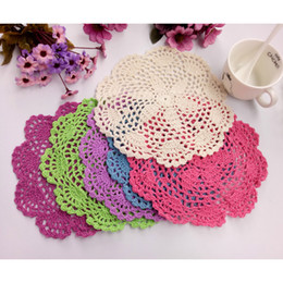 Wholesale Cotton Crochet Table Mat - Free shipping 24pcs lot 20cm round cotton crochet lace doilies fabric felt as innovative item for dinning table pad coasters mat