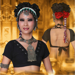 Wholesale Belly Dances Plus Size - 2017 ATS Tribal Belly Dance Clothes Crop Top Choli Tops V-neck Backless Plus Size Women Gypsy Tribal Dance