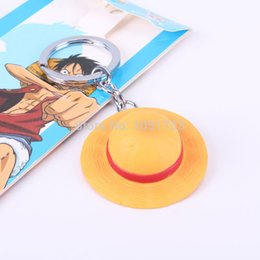 Wholesale Straw Hats Luffy - Anime One Piece Luffy Straw Hat Keychains PVC Pendant Keychain Key Chain Keyring