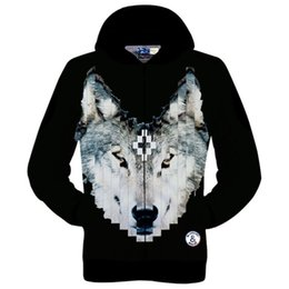 Wholesale Wolf Print Hoodies - Wholesale-New fashion 2015 women men's 3D novelty pullover hoodies print wolf Marcelo Burlon design hooded sweatshirt fall winter tops