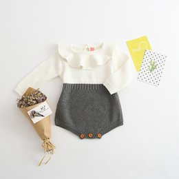 Wholesale Onesies Tutus - infant romper 2017 New Fashion baby boutique Clothes Spring Knit Splicing Long Sleeve Toddler Onesies falbala collar jumpsuit 7701