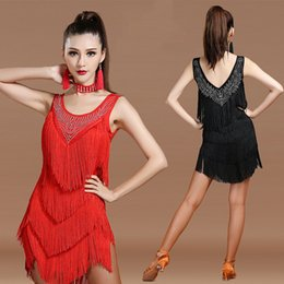 Wholesale Dancing Dresses Cheap - High Quality Latin Dancing Dresses For Women Tassel Chacha Rumba Standard Party Clothes Cheap Female Ballroom Skirts Fabric 1171