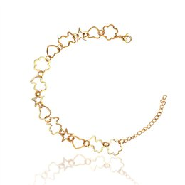 Wholesale Channel Flower - Stainless steel link chain heart,flower,stars bracelet 18k gold plated silver durable never faded high quality hot selling bears