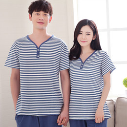 Wholesale Summer Lovers Sleepwear - Wholesale- Peignoir home couple pajamas set 100% cotton pajamas spring summer men and women short sleeve pants sleepwear lover night suits