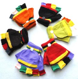 Wholesale Fingerless Gloves Boys - Warm Winter Kids Gloves Soft Striped Fitness Fingerless Knitted Half Finger Gloves Children Boys Girls Gloves Student Mittens