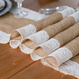 Wholesale Wholesale Vintage Runners - 30x180cm Vintage Burlap Lace Table Runner Natural Jute Linen Party Wedding Decoration For Dinning Room Restaurant Table Home Decor