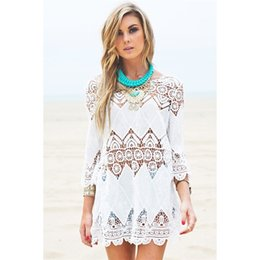 Wholesale Swimwears Woman Sexy - Women Summer Swimsuit Beachwear Bikini Beach Cover up Vestidos Swimwears Sexy Lace Crochet Mini Tunic Dress 2506099