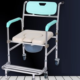 Wholesale Aluminum Wheelchairs - Wheelchair Commode Chair Aluminum Alloy Elderly Stroke Hemiplegia Handicapped Disabled People Toilet Chair Pregnant Woman Bath Shower Chair