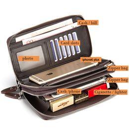 Wholesale Double Clutching - Wholesale- 2016 New Handbag Men Long Large Capacity PU Leather Wallets Male Business Black Brown Clutch Double Zipper Wallet Bags Purses