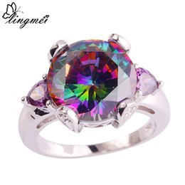 Wholesale Topaz Rings Sale - lingmei Hot sale! Jewelry Wholesale Cocktail Mystic Rainbow Topaz Amethyst 925 Silver Ring Size 6 7 8 9 10 11 Free Shipping