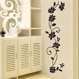 Vinile a parete della vite online-Nero DIY Fiori Blossom Vine Wall Sticker Vinile Arte Murale Home Living Room Decor
