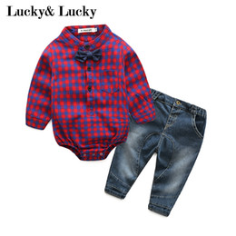 Wholesale baby boy jeans months - Wholesale- New year baby born gentleman baby boy clothes long sleeve jumpsuit with bow+jeans hot sale baby clothes