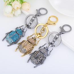 Wholesale Ladybug Silver Charm - Bling Bling Rhinestone Ladybug Shape Metal Keychain Keyring Car Keychains Purse Charms Handbag Pendant Best Gift