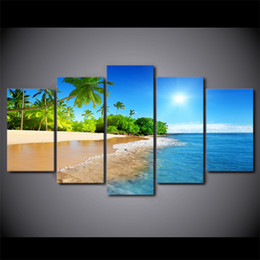 Wholesale Palms Pictures - 5 Panel HD Printed Framed Beach Sunshine Palm Trees Modern Home Decor Canvas Art Painting Wall Pictures