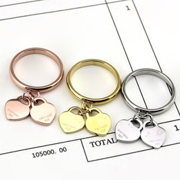Wholesale Gold Double Rings - Foreign trade wholesale jewelry double heart ring double core 18K rose gold ring on the ring of male and female lovers