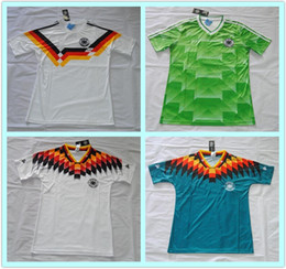 Wholesale Soccer Jersey Germany - Retro VINTAGE CLASSIC 1990 1994 World Cup germany soccer jerseys Home White top thai AAA+ Argentina camisa de futebol shirts