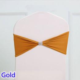 Wholesale Tie Bow Sash Belt - Gold colour tie bands Lycra sash chair sash Bow tie ribbon For Wedding Party Banquet Decoration for sale with shiny belt