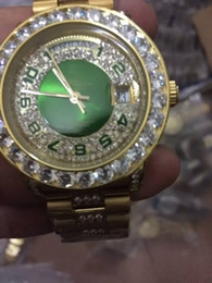 Wholesale Watches For Big Wrists - Fashion Green Number Automatic Date Mens Mechanical wrist watch Luxury big Pearl diamond Men Dress watches Swiss Brand wristwatches for male