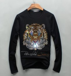 Wholesale Diamond T Shirts - Wholesale men luxury diamond design Long sleeve fashion t-shirts men funny t shirts brand cotton tops and tees 01