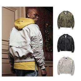 Wholesale Mens Winter Bomber Jackets - 3 colors high street fall winter fashion mens oversized bomber jackets zipper shirring sleeve mal flight windbreak coats 2018