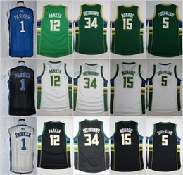 Wholesale Monroe Red - Cheap Men 34 Giannis Antetokounmpo 12 Jabari Parker 15 Greg Monroe 5 Michael Carter-Williams Green Black White Basketball Jerseys Embroidery