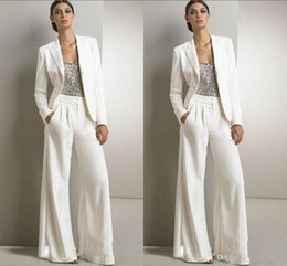 Wholesale Tuxedo Wearing Women - Bling Sequins Ivory White Pants Suits Mother Of The Bride Dresses Formal Chiffon Tuxedos Women Party Wear New Fashion Modest