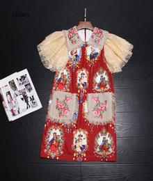 Rotes peter pankragenkleid online-Runway Kleid 2017 Rot Peter Pan Kragen Spitze Ärmel Stickerei Print Mini Frauen Kleid Promi Stil Kleid D061701