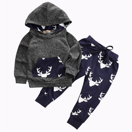 Wholesale Top American Wholesalers - 2017 Baby Clothing Sets Boys Gray Toddler Hoodies Tops Pants 2Pcs Set Autumn Cotton Cartoon Infant Apparel Boutique Clothes Outfits