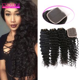 Wholesale Human Hair Wholesale Companies - CCollege Hair Company 8A Grade Brazilian Hair With Closure 3 Bundles Deep Wave Brazilian 100% Human Hair With Lace Closure Best Selling