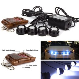 Wholesale Eagle Eyes Lights Remote - One to Four 4 x 1.5W Strobe Flash Eagle Eye LED Car DRL Day Time Running Light & Revers Tail with Wireless Remote