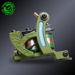 Wholesale Cast Iron Tattoo Machine Frames - Wholesale- High Quality Shading Machine 10 Pure Copper Wrap Coils Cast Iron Frame Tattoo Guns Tattoo Power Supply