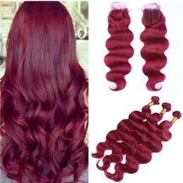 Wholesale Weave Front Closure - Brazilian Burgundy Red Virgin Human Hair Weaves with Top Closure Body Wave #99J Wine Red 4x4 Lace Front Closure with 3Bundles 4Pcs Lot