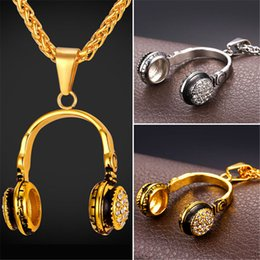 Wholesale Music Pendant Necklaces - U7 Music Headphones Pendant Necklace Rhinestone Stainless Steel Jewelry Men Women Gold Plated Jewelry Perfect Party Birthday Gift Accessory