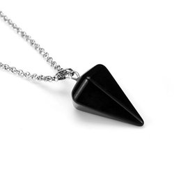 Wholesale Pendulum Gemstone - Natural Gemstone Crystal Healing Chakra Reiki Silver Stone Pendant Necklace Bead Hexagonal Prisme Cone Pendulum Pendants crystals 10 Colors
