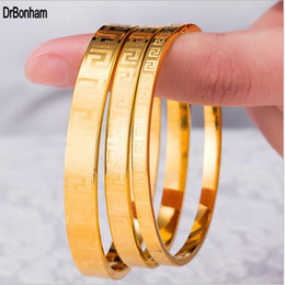 Wholesale 4mm Gold Chain - 4mm 6mm 8mm Luxury Famous Brand Jewelry Pulseira Bracelet & Bangle 24K Gold Color greek key engrave Bracelet For Women men