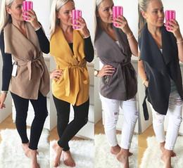 Wholesale Thin Wool Coat - High Quality Women Winter Sleeveless Coat Autumn Outwear Belt Vests Fashion Women Overcoat Wool Blend Fabric Vests For Women Free Shipping