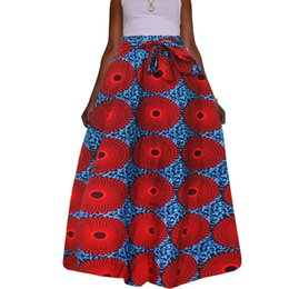 Wholesale Maxi Skirt Dotted - 2017 Red Dot Traditional African style Maxi Vintage Bohemian Ethnic Pattern Hippie Boho Long Skirt Swing Dress Skirts