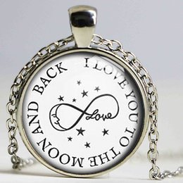 Wholesale Lock Pendant Necklace - I Love You to the Moon and Back Charm Pendant Glass Cabochon Necklace Vintage Bronze Plated Chain Choker Statement