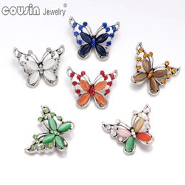 Wholesale Silver Plated Necklace Sets - Wholesale 6 Colors Mixed butterfly pattern opal snap button Fit 18mm snap button Bracelets&Necklace For snap Jewelry KZ0346