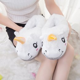 Wholesale Type Shoe Men - New Winter Indoor Slippers Plush Home Shoes Unicorn Slippers for Men Women Warm Home Slippers Shoes pantofole unicorno 5 Types
