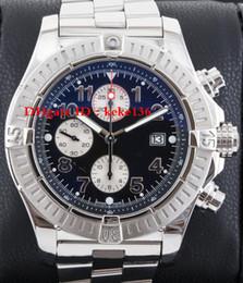 Wholesale 48mm Quartz - men Luxury High Quality Watch A13370 Black Arabic Dial 48mm Stainless steel bracelet lVK Quartzl Chronograph Working Mens Watch Watches