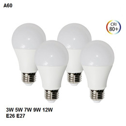 Globo led lâmpada a19 on-line-A19 / A60 Edison Parafuso Luzes LED Bulbo AC85-265V Lâmpada LED Globo Lâmpada Regulável E26 Interior / E27 Iluminação 3W 5W 7W 9W 12W