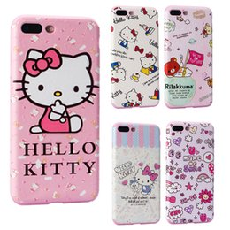 Wholesale Iphone Case Cartoon Girl - Funny Cartoon Cute Hello Kitty Designs TPU Leather Case Cover For iphone 6 7 8 6s Plus Pink Color TPU Silicone Girls case