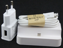 Wholesale Dock Station S2 - 3in1 kit Charger Dock Station+ Travel Wall Charger Adapter + Date Sync Charging Charger Cable for Samsung Galaxy S2 S3 S4