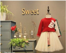 Wholesale Horse Children Clothing - Girls princess outfits children small horse tassel knitting sweater+elegant mesh gauze tutu skirt 2pcs sets 2017 autumn kids clothes C0897